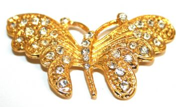 1pce x gold colour butterfly pendant with rhinestone 52*30mm - S.F08 - 3004025